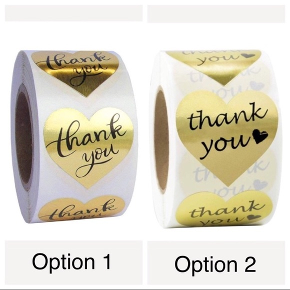 Other - 200 Gold Foil Heart Thank You Stickers